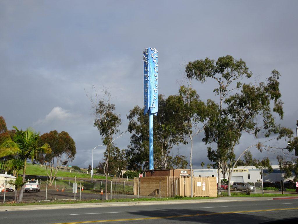 Birds on Blue: A public art cell site in San Diego.